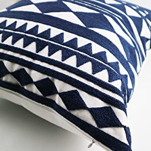 decorative embroidered throw pillow cover with geometric design navy blue diamonds triangle square