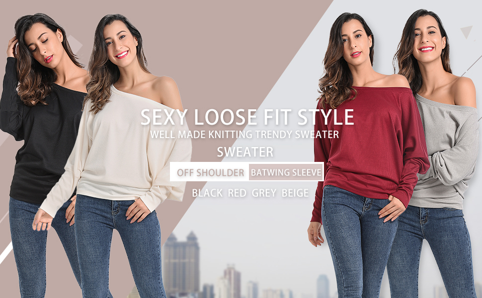 1f2fd6dfa563a2 JTANIB Womens Sweater Off Shoulder Batwing Long Sleeve Pullover Oversized  Knit Jumper Top