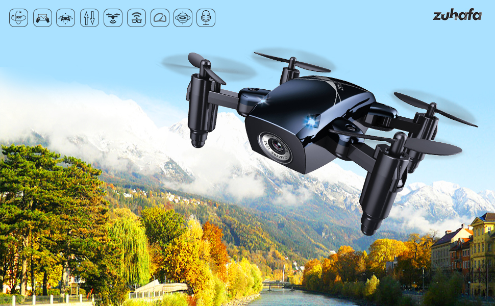 zuhafa S9M Foldable Mini Drones, Mini RC Drones with Camera 720P HD, Portable Drone with Altitude Hold 3D Flips and Headless Mode, Pocket Quadcopter ...