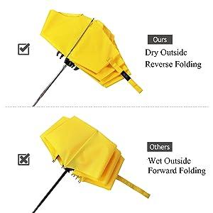 YUSOO Automatic Compact Travel Umbrella with Reverse,210T Auto Open Close Folding Strong Windproof UV Umbrella For Women Men,Black