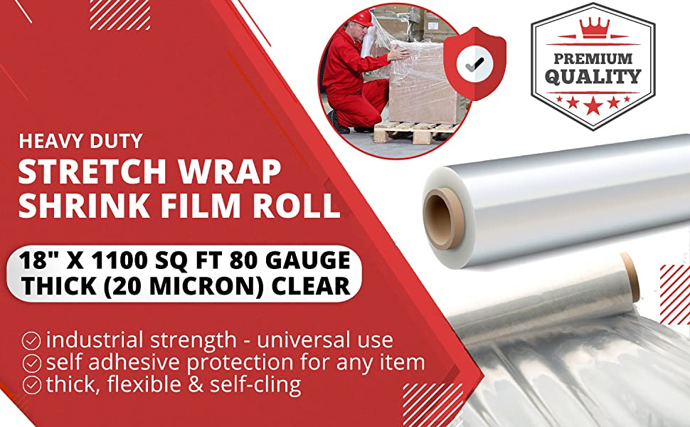 Durable Self Adhering ● Packing ● Pallet ● Furniture ● Heavy Duty Shrink Film 80 Gauge Thick Clear Cling Plastic Moving Supplies 1 Pack Industrial Strength Mini Hand Stretch Wrap 5-1000 Roll
