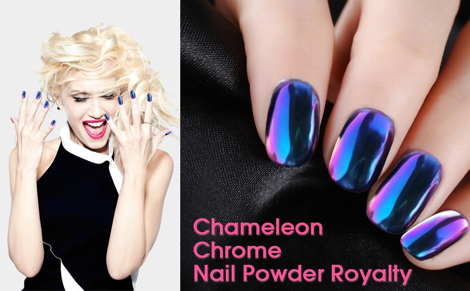 Amazon.com : PrettyDiva Chameleon Chrome Nail Powder, Magic Mirror ...
