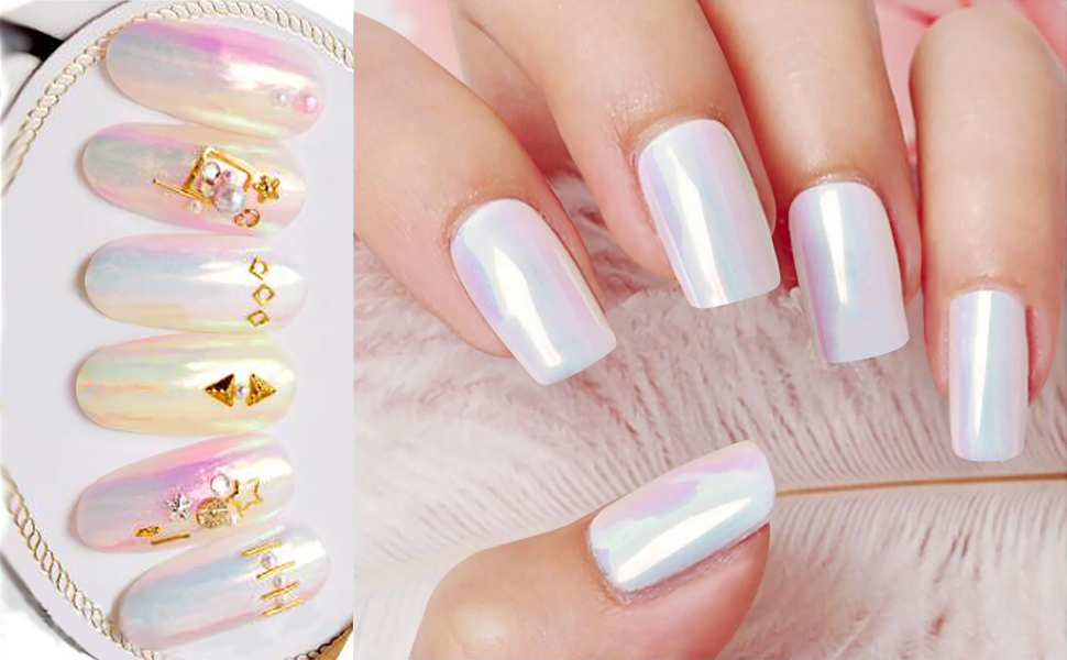 Amazon.com : PrettyDiva Mermaid Chrome Nail Powder, Aurora ...