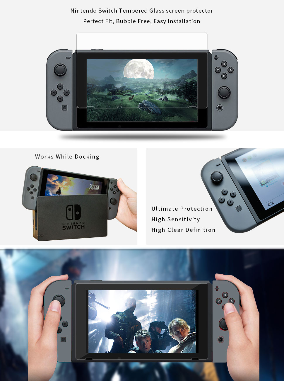 Nintendo Switch Tempered Glass Screen Protector Ceramic Tile Mocolo Original 9h Premium Portholic For