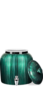 ... Vertical Green Stripe Ceramic Water Crock