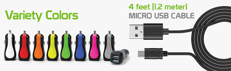 Aristo2 Plus W Zip Wine LTE Aristo2 Exalt LTE Enlighten Optimus Slider Cellet PMICROMS21 Fast Charging 2.4Amp output Dual USB Car charger with 4ft long micro USB Cable compatible for LG Aristo