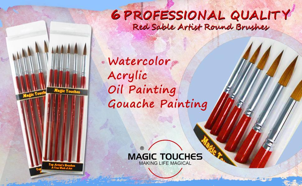 Magic Touches Artist Paint Brush Set - Red Sable Round Brush Set