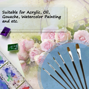 set if 6 acrylic paint brushes by Magic Touches