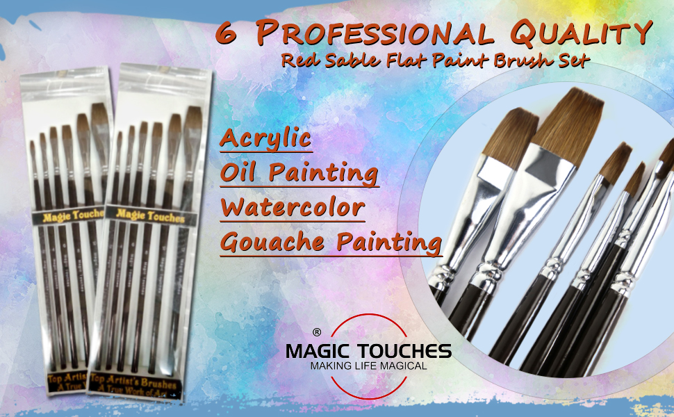 Magic Touches 6-piece Red Sable (weasel hair) FLAT (Bright) Paint brush set