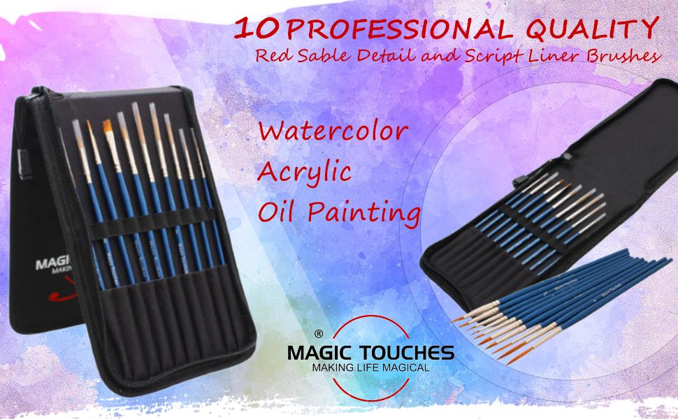 10 piece Detail and script liner paint brush set