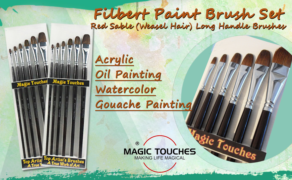 Top Quality Red Sable Paint Brush Set - 6 pieces