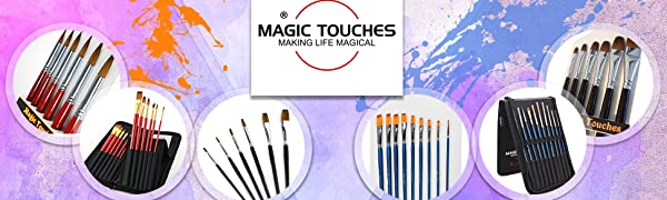 Magic Touches Range of Professional Quality Red Sable and Golden Nylon Paint brush Sets