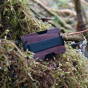 Slim Minimal Wallet Card Holder Walnut Wood