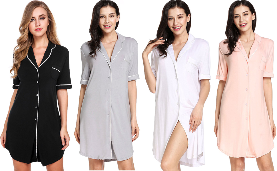5b31b1ce12c59 Sweetnight Women Short Sleeve Nightgown Button Front Boyfriend Sleep Shirt  Lounge Sleepwear Black