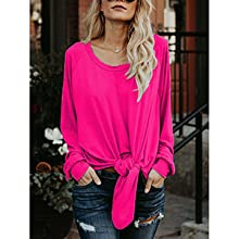 34ee56c1 Sweetnight Women's Long Sleeve Knot Tie Front Shirts Loose Off ...