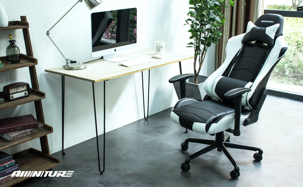 High Back Racing Gaming Chair Recliner PU Leather Swivel Desk Armchair