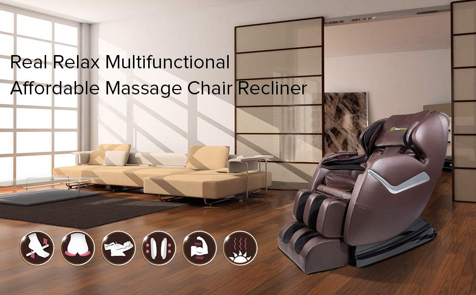 Real Relax Massage Chair, Full Body Zero Gravity Shiatsu Recliner with Heat and Foot Rollers, Brown