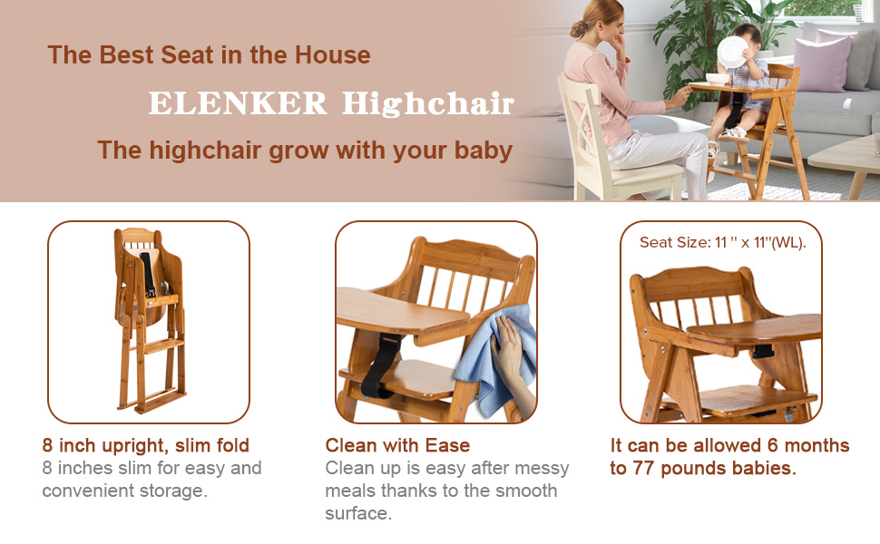 e157c5e10ac6d Amazon.com   ELENKER Wooden High Chair with Tray