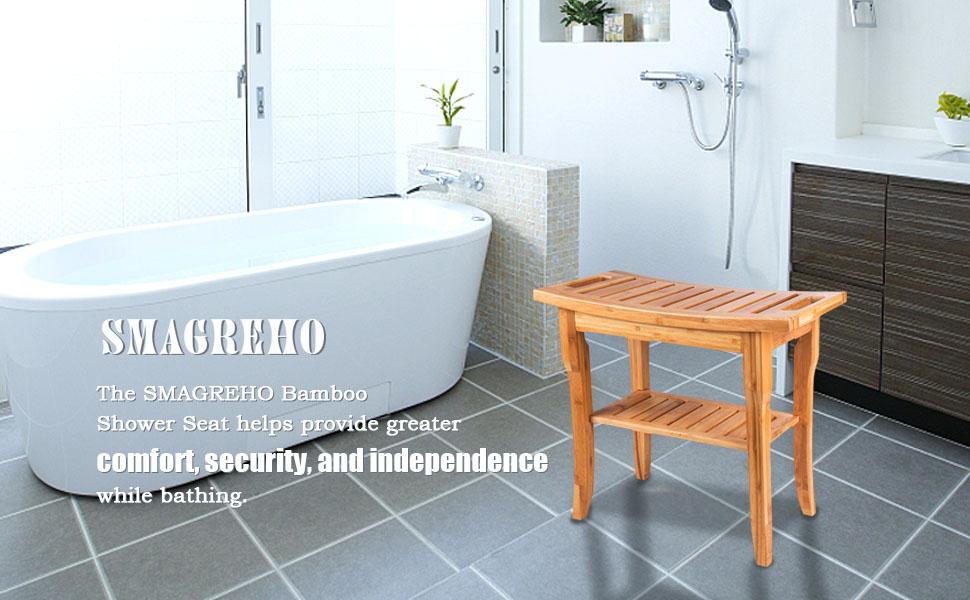 Bamboo Shower Seat Bench Bathroom Spa Bath Organizer Stool with ...