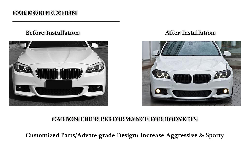 for BMW 5 Series F10 528i 530i 535i 550i M Sport carbon fiber front bumper lip