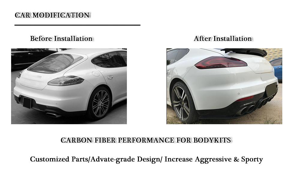 fits Porsche Panamera 2014-2016 carbon fiber rear bumper lower diffuser spoiler