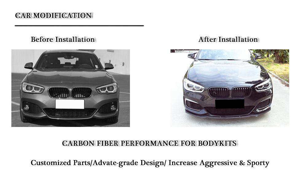 fits BMW 1 Series F20 F21 M Sport Hatchback carbon fiber front bumper lip spoiler