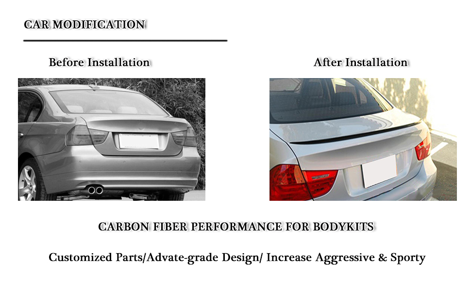 Carbon Fiber Trunk Spoiler Fits BMW 3-Series E90 Sedan 2005-2012 Performance Style