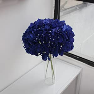 navy blue silk hydrangea head