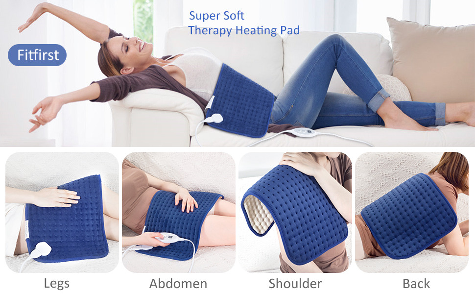 Amazon Com Fitfirst Xl King Size Heating Pad For Back Pain 12 X 24 Deep Heat Therapy Wrap With Fast Heating Technology 4 Heat Settings Ultra Soft Washable Auto Off For Back Neck Shoulder Blue