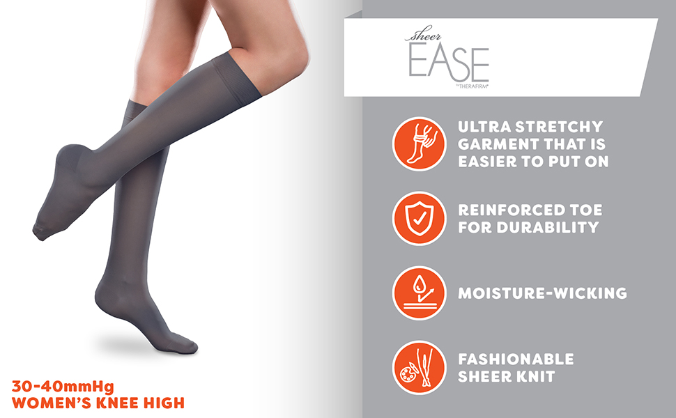 c549fa7f5 Amazon.com  Sheer Ease Women s Knee-Highs w Mild (15-20mmHg ...