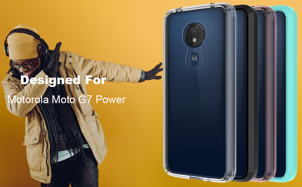 Moto G7 Power Case, Moto G7 Supra Case, OUBA [Shock Absorption] Air Hybrid Armor Defender Protective Case Crystal [Clear] Back Cover Compatible for ...