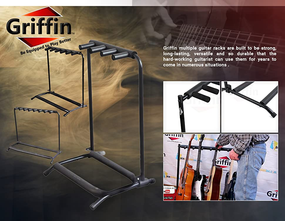three guitar rack stand by griffin holder for 3 guitars folds up for electric. Black Bedroom Furniture Sets. Home Design Ideas