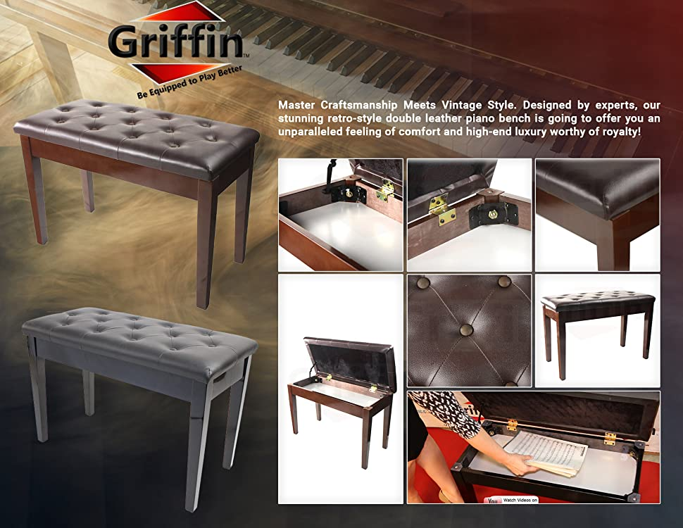 Black Piano Bench With Storage Features