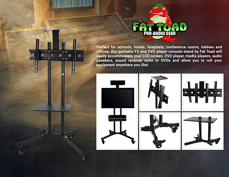 rolling plasma tv cart with storage shelf by fat toad