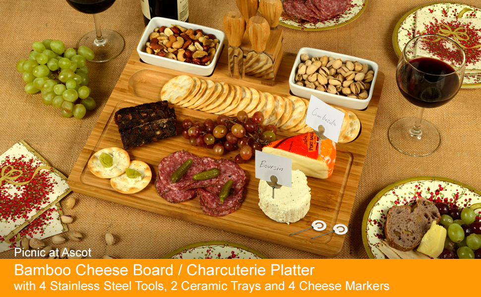 Bamboo Cheese Board, Charcuterie Platter Serving Tray