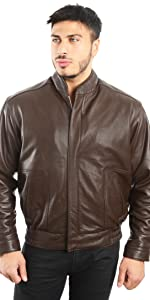 Genuine Lambskin Leather Stand UP Collar Bomber Jacket