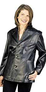 27'' Misses Fit Three Button Leather Jacket