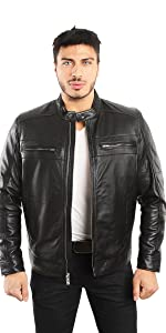 Motorcycle Leather coat Style with Stand collar with throat tab