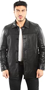 Lambskin Leather Four Button Car Coat