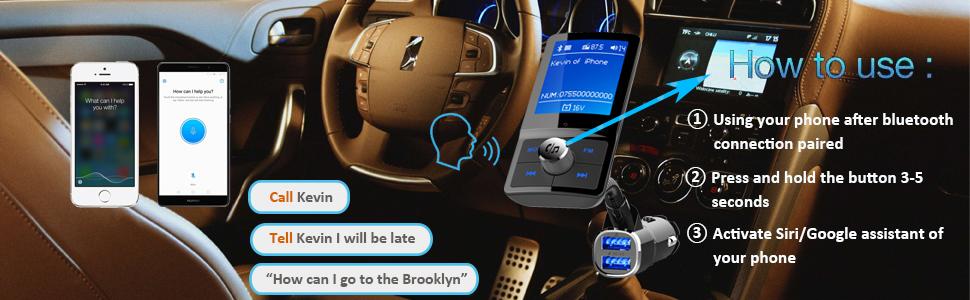 modo EQ Transmisor FM Bluetooth,Receptor inal/ámbrico para coche,W QC3.0 de carga r/ápidasoporte USB Drive tarjeta TF AUX