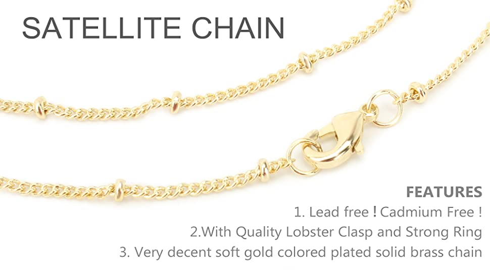 Tiny Small Ball Flat Cable Chain 2.4x1.7mm SOLDERED link B2417F Bulk Wholesale 10 ft Gold Plated Satellite Chain Flat BALL Chain