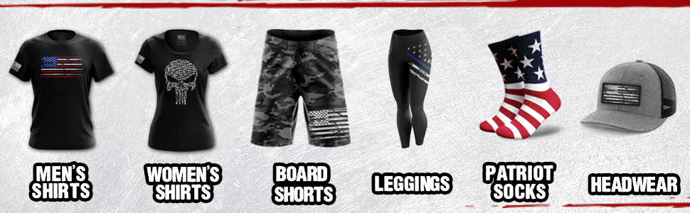 Made in USA shirts, board shorts, leggings, socks, and headwear for men and women.