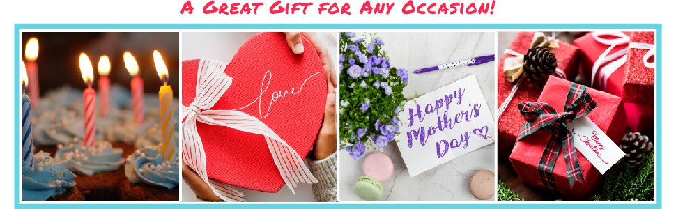 Images of Birthday cupcakes, Valentine's day chocolates, Mother's day flowers, and Christmas gifts