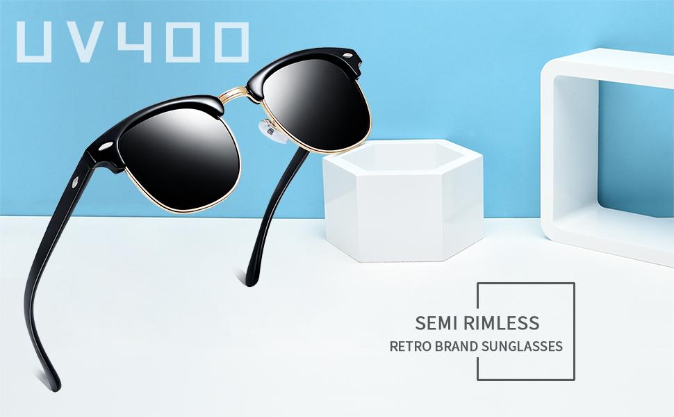 548051b967 Amazon.com  Joopin Semi Rimless Polarized Sunglasses Women Men Retro ...