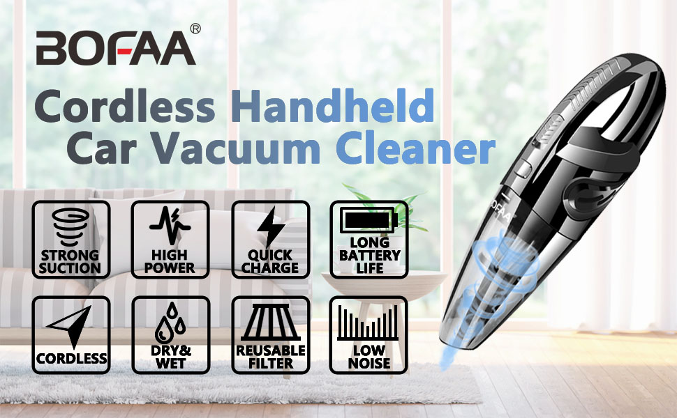 bofaa handheld vacuum cleaner cordless hand vacuum cleaner cordless with bag hose. Black Bedroom Furniture Sets. Home Design Ideas