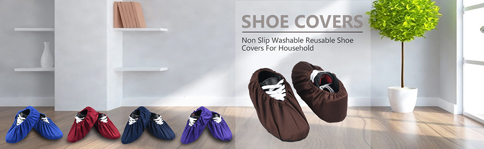 1 Pair Non Slip Washable Reusable Shoe Covers For Household Thickened Gray