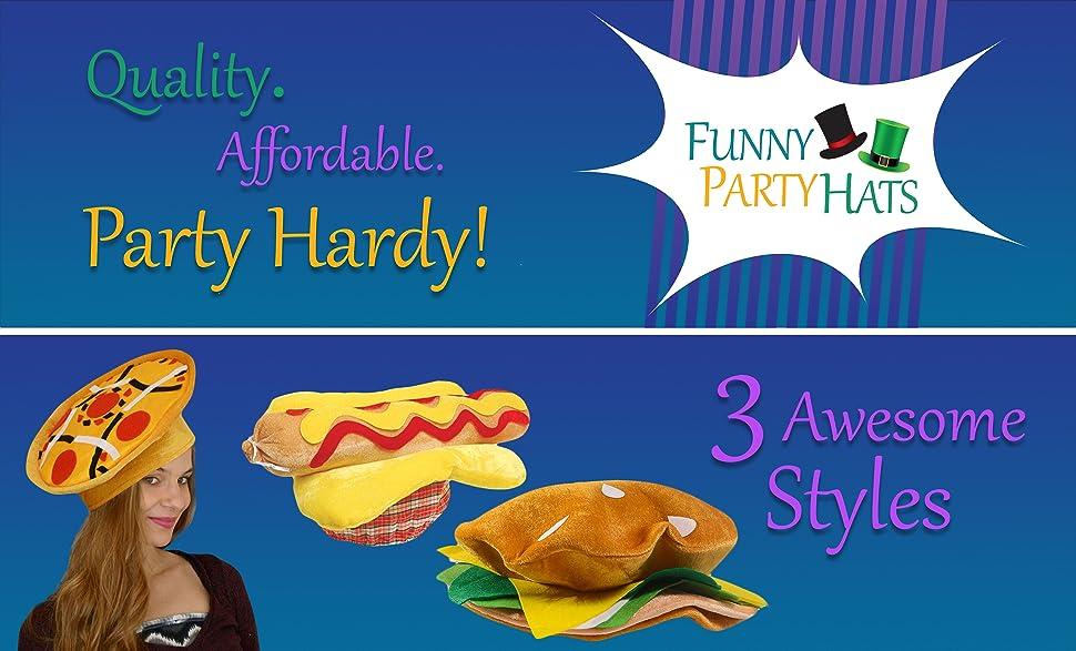Amazon.com: Funny Party Hats Food Hats - Pizza Hamburger