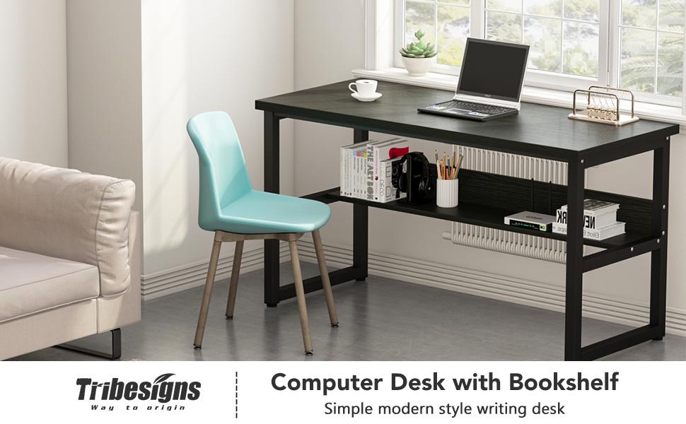Amazon Tribesigns Computer Desk With Bookshelf 55 Simple