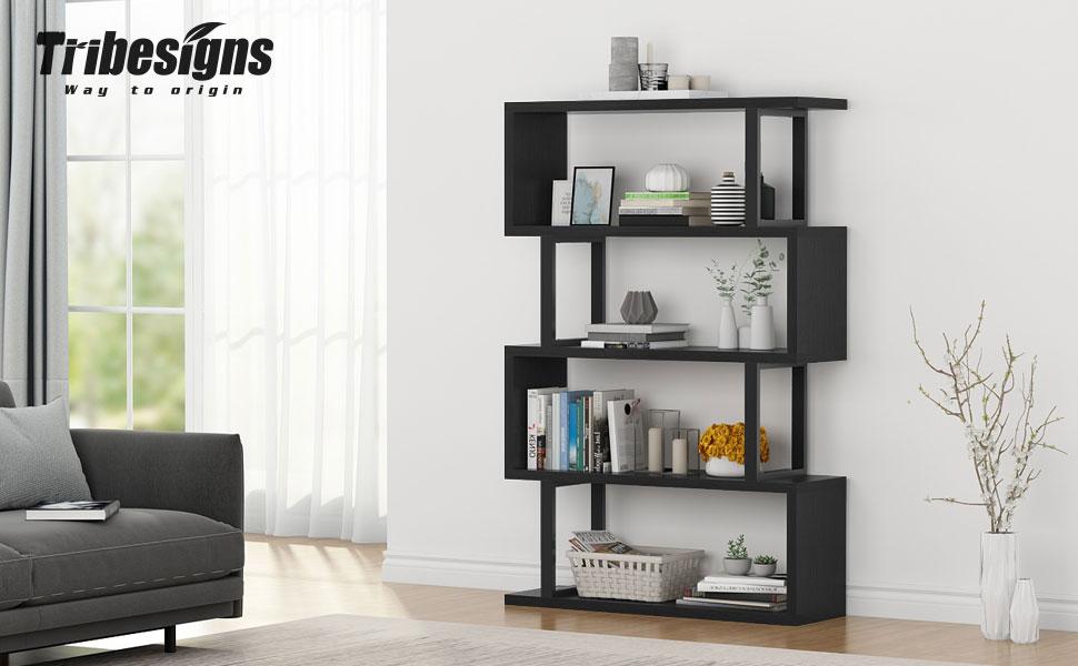 Tribesigns 4 Shelf Bookshelf Modern Bookcase Display Shelf Storage  Organizer for Living Room, Home Office, Bedroom (Black)
