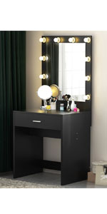 Black Vanity Makeup Desk with lights